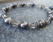 Peacock pearl bracelet with Swarovski crystals and sterling silver, gray, boho, smoky crystals, sterling toggle clasp - ready to ship