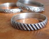 Sterling Silver Diagonal Stripe Ring, Size 9, rustic, modern, unisex, men's wedding ring, stacking ring, wedding band, ready to ship