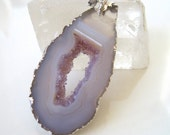 Reserved for Wnma, Geode agate slice with druzy crystals and sterling silver necklace