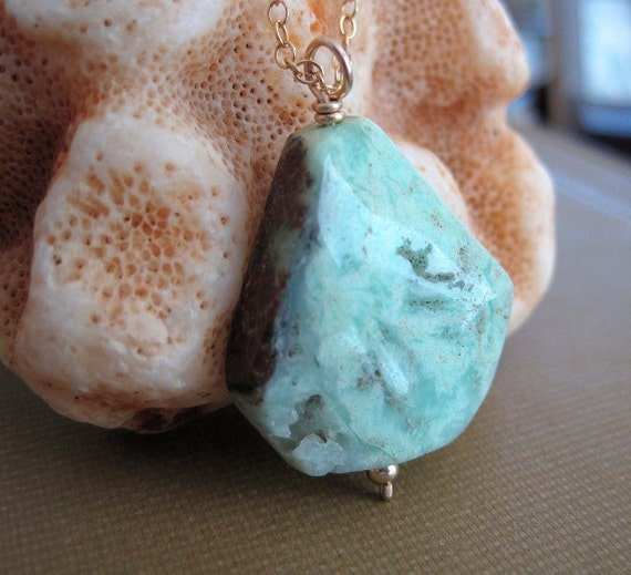 Chrysoprase Polished Stone Bead and Gold Filled Necklace - Natural Beauty