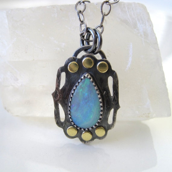 Opal, sterling silver and 18 kt gold necklace - ready to ship