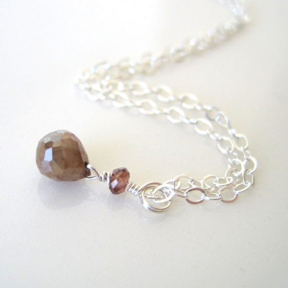 Natural raw faceted cognac diamond, sapphire and sterling silver necklace, modern, lux - ready to ship