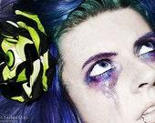 2Tone Eyeball Rose Hair Flower CLip, Torture Couture, Green, Black, psychobilly, Horror, Gothic, BMovie
