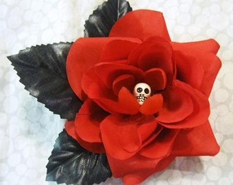 Red Skull Rose, Hair Flower, Clip, Gothic, Torture Couture