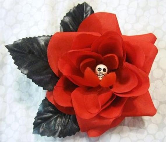 Goth Skull Rose, Hair Flower, Clip, Gothic, Torture Couture lolita egl floral clip fascinator garden festival pinup burlesque