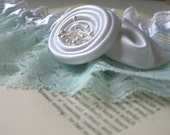 Amoureuse   Bridal Garter, Mint Lace with White Satin Flower, White Lace, Pearl, Handmade Wedding, Shower Gift - Ready to Ship