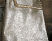 Silver Foil   Vintage 1960s Metallic Purse Glitter Vinyl with Lucite Confetti Handle Kiss Lock