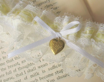 Mon Amour | Buttercup Bridal Garter Set, White Lace and Yellow Satin with Sweetheart Locket, Handmade Wedding - Ready to Ship