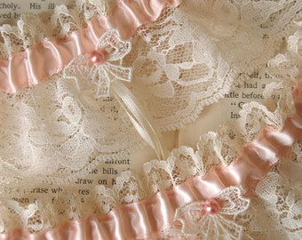 Ma Cherie | Wedding Garter, Blush Bridal Garter Set, Ivory Vintage Lace Bow, Rose Pearl - Ready to Ship