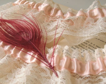La Boheme | Bridal Wedding Garter, Pink Peacock Feather, Blush Satin, Ivory Lace, Heirloom Garter, Ready to Ship