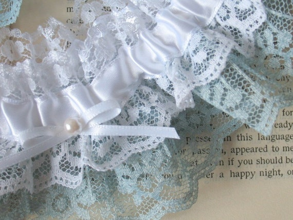 Sweet Nothings | Something Blue Bridal Garter, White and Powder Blue Lace with White Satin Bow and Pearl, Handmade Wedding - Ready to Ship