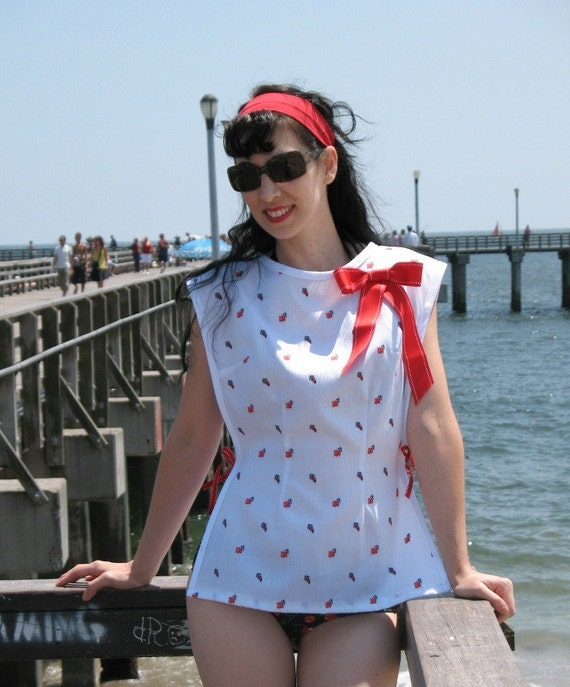 SALE Retro Swimsuit Cover Up - Floral Embroidered White Cotton Pique - Red Bows OS