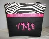 ZEBRA Stripe ... Black  ... Personalized DIAPER BAG .. Tote ... Handbag