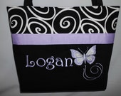 Purple  BUTTERFLY .. Diaper Bag Tote... Ebony Ironwork..... Personalized FREE