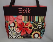 FLOWER Shower... Coral Accent ... Large Tote ... Diaper Bag..  Pockets  ... Personalized FREE