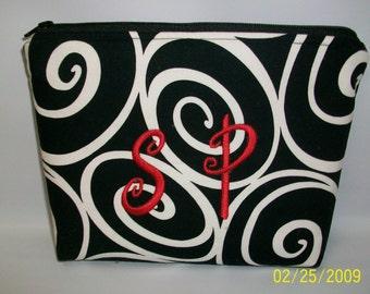 Black and White IRONWORK Swirls...  ZIPPER Pouch... Personalized FREE