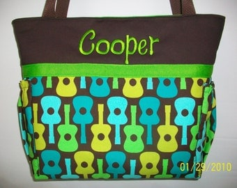 Groovy GUITARS ...  Blue Green Personalized DIAPER Bag ...  TOTE ...  Bottle Pockets .. Zipper Available