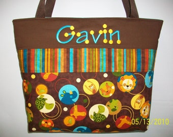 ANIMAL Party  ....Diaper Bag ....Monogrammed FREE ... Giraffe...Lion... Monkey