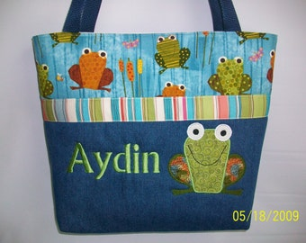 Appliqued FROG  Diaper bag ...  Personalized FREE