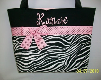 ZEBRA Stripe ... Baby PINK  Accents ...  Personalized TOTE ... Diaper  Bag
