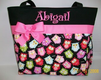 Adorable OWLs ...  DIAPER Bag ..   Bottle Pocket ...  Free Monogram