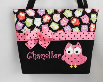 Olivia  OWL DIAPER Bag .. Applique OWL ... Personalized Free