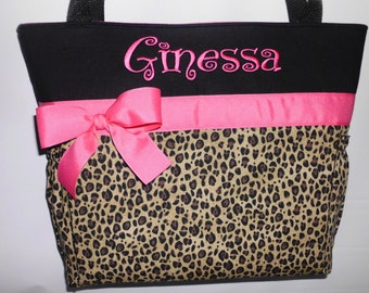 Hot Pink  Accents .. Cheetah ... LEOPARD  Print.... Black ...Diaper  Bag .. Bottle Pockets  Personalized FREE