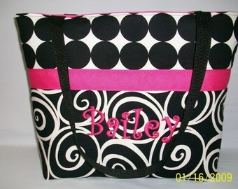 Classic BLACK Swirls and Hot PINK Accents Diaper Bag MARKET Tote