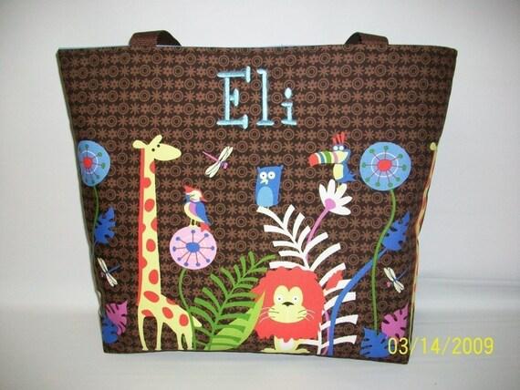 Reserved for Brandiewaldrop ... LAST One ....JUNGLE Jam ....Diaper Bag Set....Monogrammed FREE ... Giraffe...Lion... Birds
