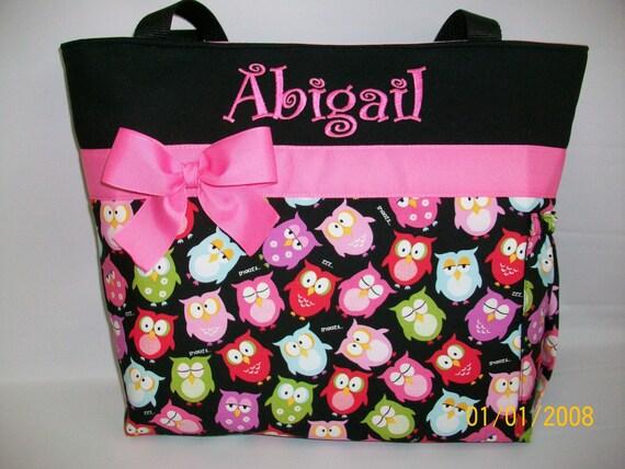 Adorable OWLs ...  DIAPER Bag ..   Bottle Pocket ...  Free Monogram