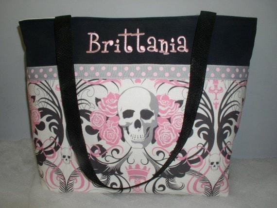SKULLS and Pink ROSES Diaper Tote Bag Large HANDBAG