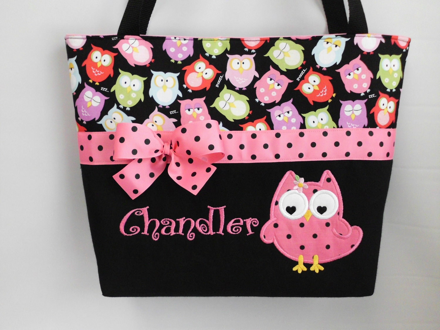 olivia owl diaper bag applique owl personalized free. Black Bedroom Furniture Sets. Home Design Ideas