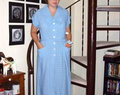 Vintage light blue deadstock striped shirt dress with collar and bow - large