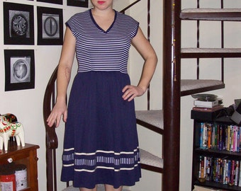 Vintage blue and white striped sundress - medium