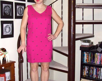 Vintage hot pink sheath dress with silver studs - small/medium