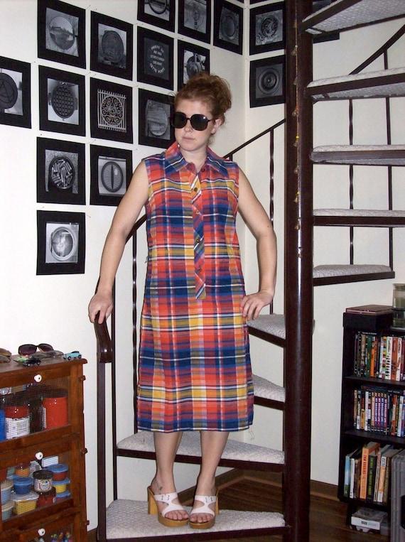 Vintage plaid sleeveless dress - large