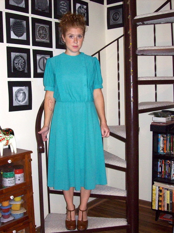 Vintage teal pleated dress - large