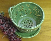 Berry Bowl Colander with coaster dish handcarved flowers