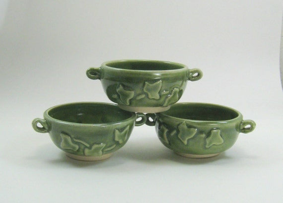 Ceramic Prep Bowls kitchen cooking green ivy leaves