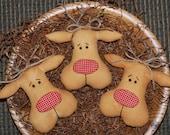 EPATTERN -- Primitive Christmas Reindeer Tucks Bowl Fillers Ornies