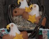 American Eagle Patriotic Tucks Primitive Bowl Fillers Americana Ornies STCOFG