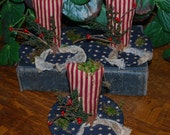 Primitive Americana Patriotic Uncle Sam Hat Tucks Bowl Fillers