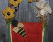 EPATTERN -- Primitive Watermelon, Flowers, Bee Wall Hanging Door Greeter