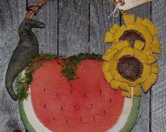 EPATTERN -- Watermelon Crow Sunflower Wall Hanging