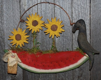 EPATTERN -- Blooming Watermelon Door Greeter Sunflower Crow Wall Hanging