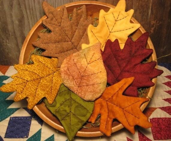 EPATTERN -- Primitive Fall Leaves Tucks Ornies Bowl Fillers
