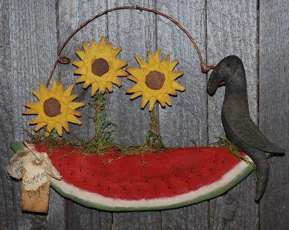 EPATTERN -- Blooming Watermelon Door Greeter Sunflower Crow Wall Hanging