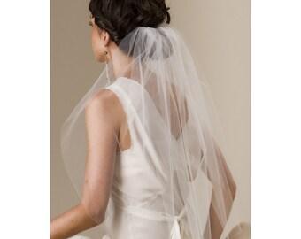 Silk Tulle bridal elbow length veil, waist length - 761S