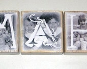 Eco-Friendly Photo Letter Blocks- WEDDING DaTE  or LAST NAME- per block price