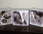 Personalized Wooden NAME Photo Blocks- for child or baby's room- match decor and colors- custom made